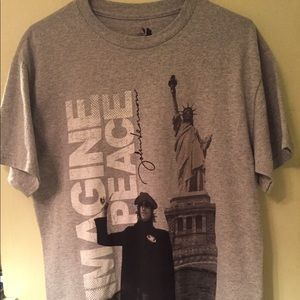 John Lennon Gray T-Shirt with signature